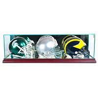 Perfect Cases Triple Mini Football Helmet Display Case - Cherry Finish