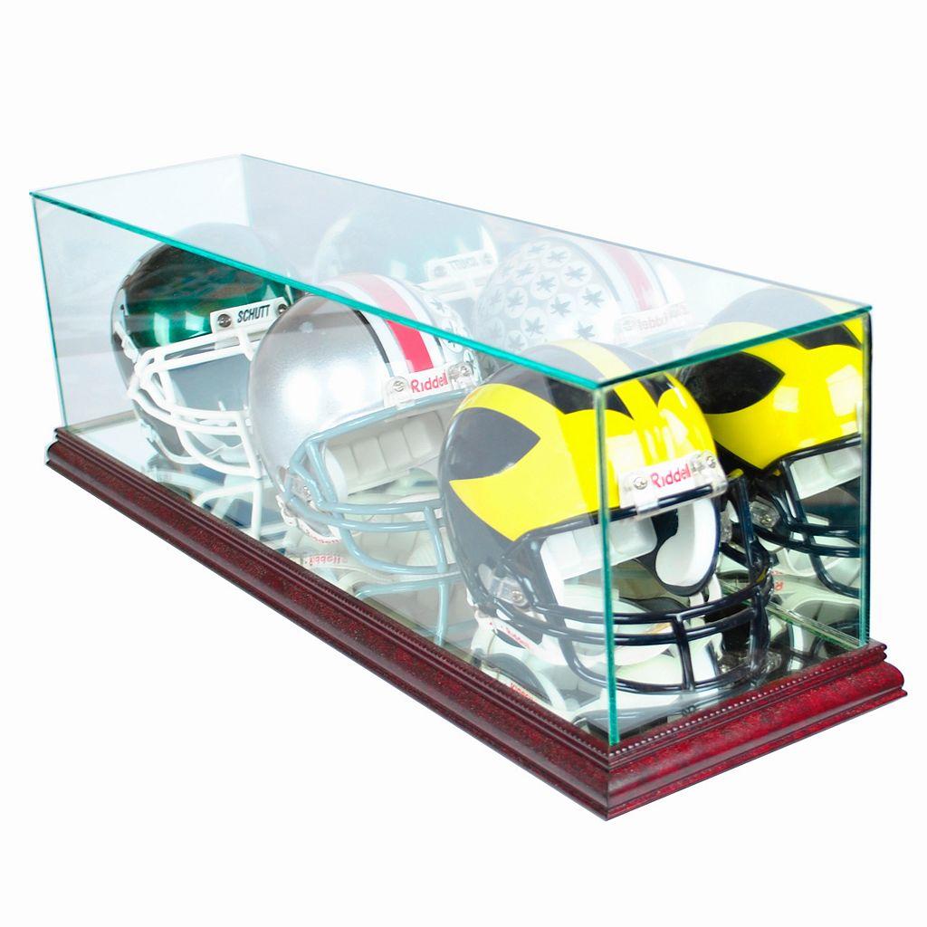 Perfect Cases Triple Mini Football Helmet Display Case - Cherry Finish