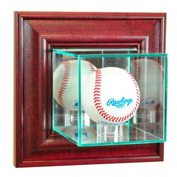 Perfect Cases Wall-Mounted Baseball Display Case - Cherry Finish