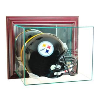Perfect Cases Wall-Mounted Football Helmet Display Case - Cherry Finish