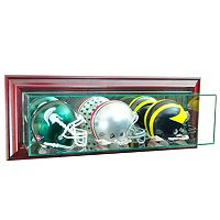 Perfect Cases Wall-Mounted Triple Mini Football Display Case - Cherry Finish