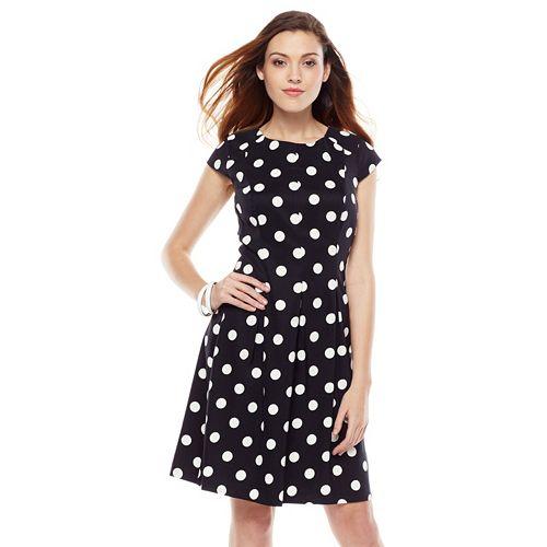 AB Studio Polka-Dot Fit & Flare Dress - Women's
