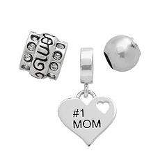Individuality Beads Sterling Silver '#1 Mom' Heart, Crystal & Spacer Bead Set
