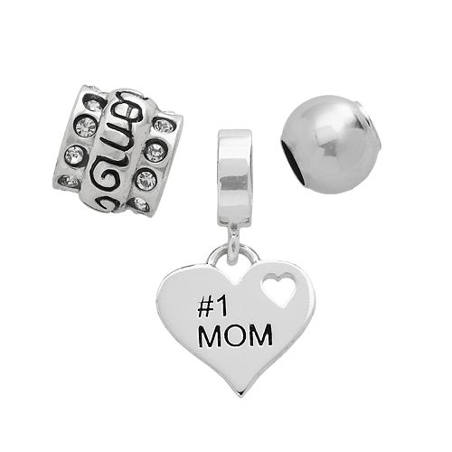 "Individuality Beads Sterling Silver ""#1 Mom"" Heart, Crystal & Spacer Bead Set"