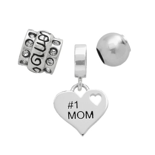 Individuality Beads Sterling Silver #1 Mom Heart, Crystal and Spacer Bead Set