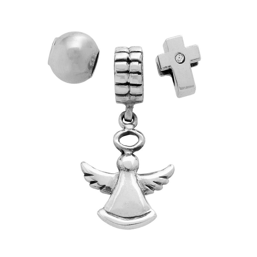 Individuality Beads Sterling Silver Crystal Cross & Spacer Bead & Angel Charm Set