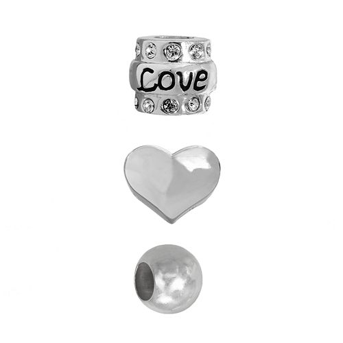 """Individuality Beads Sterling Silver Crystal """"Love"""", Heart & Spacer Bead Set"""