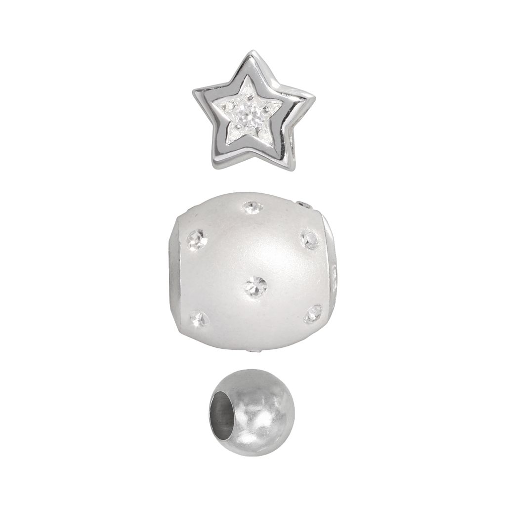 Individuality Beads Sterling Silver Cubic Zirconia Star, Crystal & Spacer Bead Set