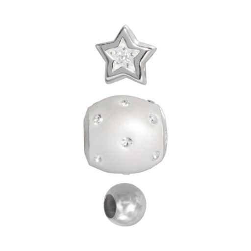 Individuality Beads Sterling Silver Cubic Zirconia Star, Crystal and Spacer Bead Set