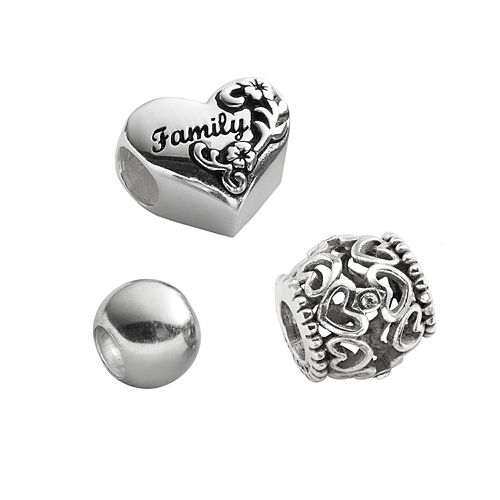 "Individuality Beads Sterling Silver Crystal Openwork Heart, ""Family"" Heart & Round Spacer Bead Set"