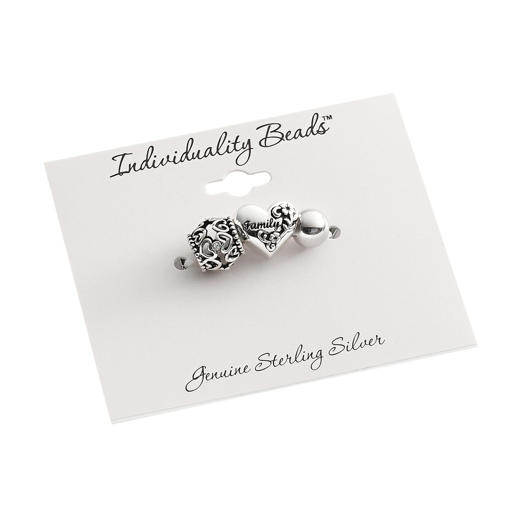 Individuality Beads Sterling Silver Crystal Openwork Heart, Family Heart and Round Spacer Bead Set