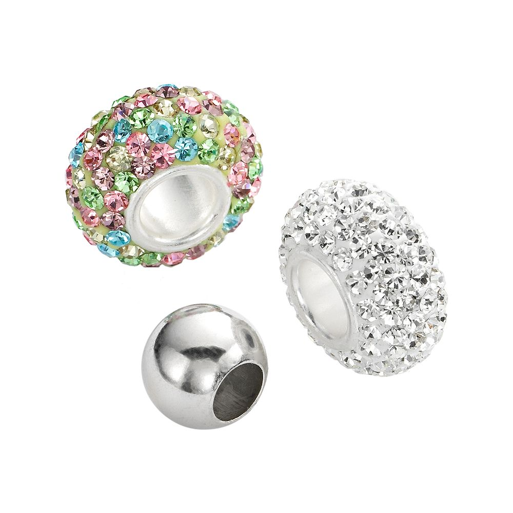 Individuality Beads Sterling Silver Multicolored Crystal & Round Spacer Bead Set