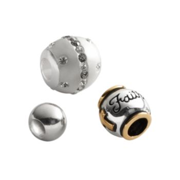Individuality Beads 24k Gold Over Silver and Sterling Silver Crystal, Faith and Round Spacer Bead Set