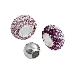 Individuality Beads Sterling Silver Purple Crystal & Spacer Bead Set
