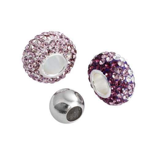 Individuality Beads Sterling Silver Purple Crystal and Spacer Bead Set