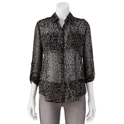 Rock & Republic® Leopard Chiffon Shirt - Women's