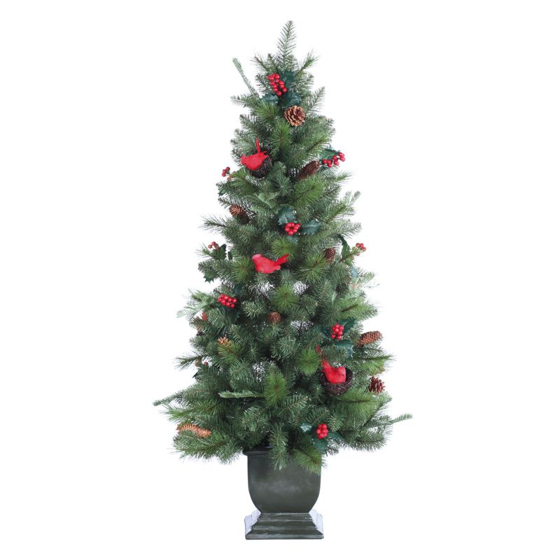 5-ft. Cardinal Nest Berry Potted Christmas Tree - Indoor