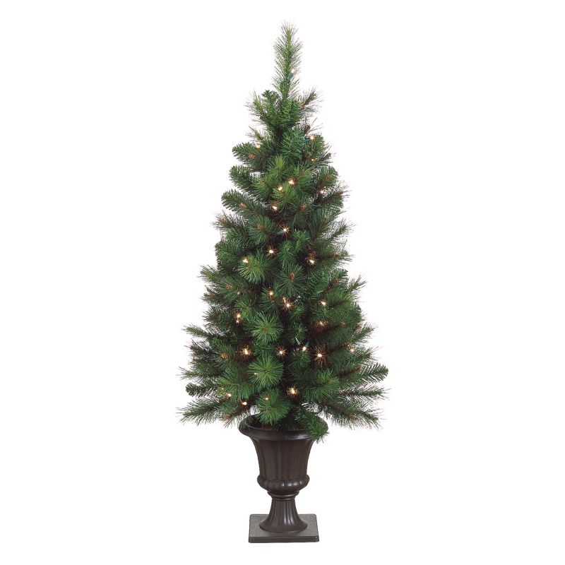 4-ft. Bottle Brush Mixed Potted Pre-Lit Christmas Tree - Indoor
