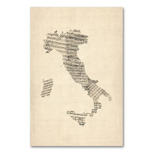 """""""Italy - Old Sheet Music Map"""" 22"""" x 32"""" Canvas Wall Art by Michael Tompsett"""