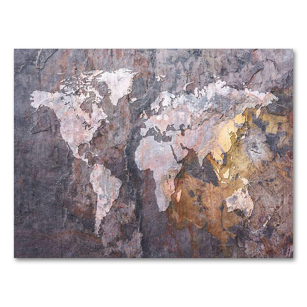 """""""World Map - Rock"""" 18"""" x 24"""" Canvas Wall Art by Michael Tompsett"""