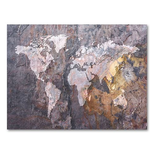 """World Map - Rock"" 24"" x 32"" Canvas Wall Art by Michael Tompsett"