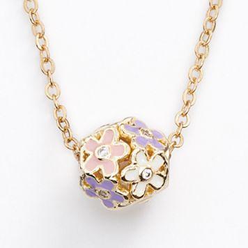 Junior Jewels Brass Cubic Zirconia Flower Ball Pendant - Kids