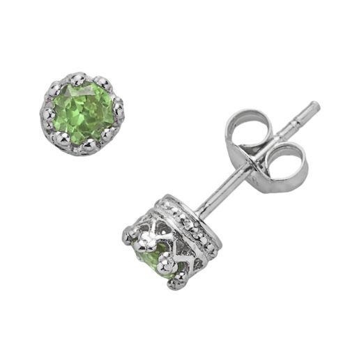 Junior Jewels Sterling Silver Peridot Crown Stud Earrings - Kids
