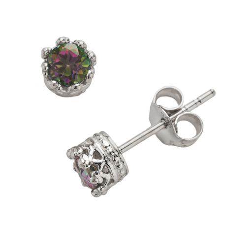 Junior Jewels Sterling Silver Rainbow Quartz Crown Stud Earrings - Kids