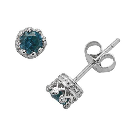 Junior Jewels Sterling Silver London Blue Topaz Crown Stud Earrings - Kids