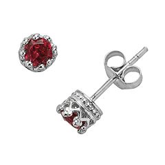 Junior Jewels Sterling Silver Garnet Crown Stud Earrings - Kids