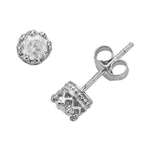 Junior Jewels Sterling Silver Lab-Created White Sapphire Crown Stud Earrings - Kids