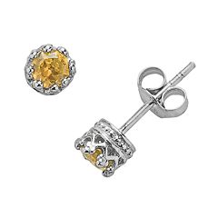 Junior Jewels Sterling Silver Citrine Crown Stud Earrings - Kids