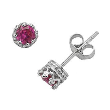 Junior Jewels Sterling Silver Lab-Created Ruby Crown Stud Earrings - Kids