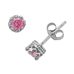 Junior Jewels Sterling Silver Lab-Created Pink Sapphire Crown Stud Earrings - Kids