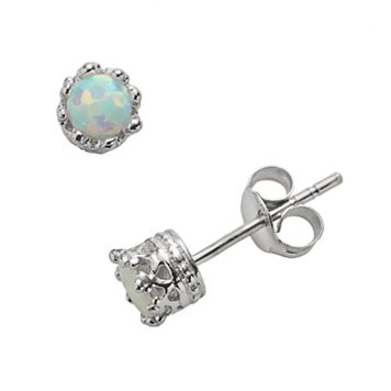 Junior Jewels Sterling Silver Lab-Created Opal Crown Stud Earrings - Kids