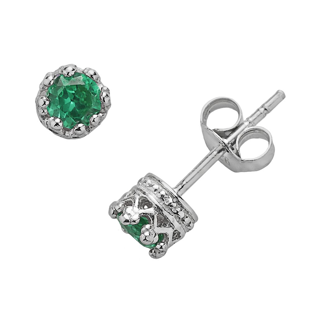 Junior Jewels Sterling Silver Lab-Created Emerald Crown Stud Earrings - Kids
