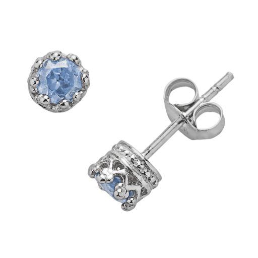 Junior Jewels Sterling Silver Lab-Created Aquamarine Crown Stud Earrings - Kids
