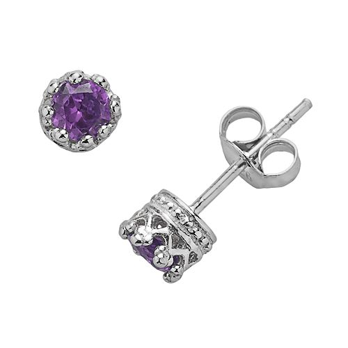 Junior Jewels Sterling Silver Amethyst Crown Stud Earrings - Kids