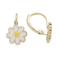Junior Jewels Brass Daisy Drop Earrings - Kids