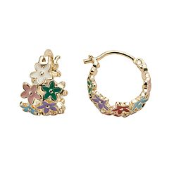 Junior Jewels Brass Flower Hoop Earrings - Kids