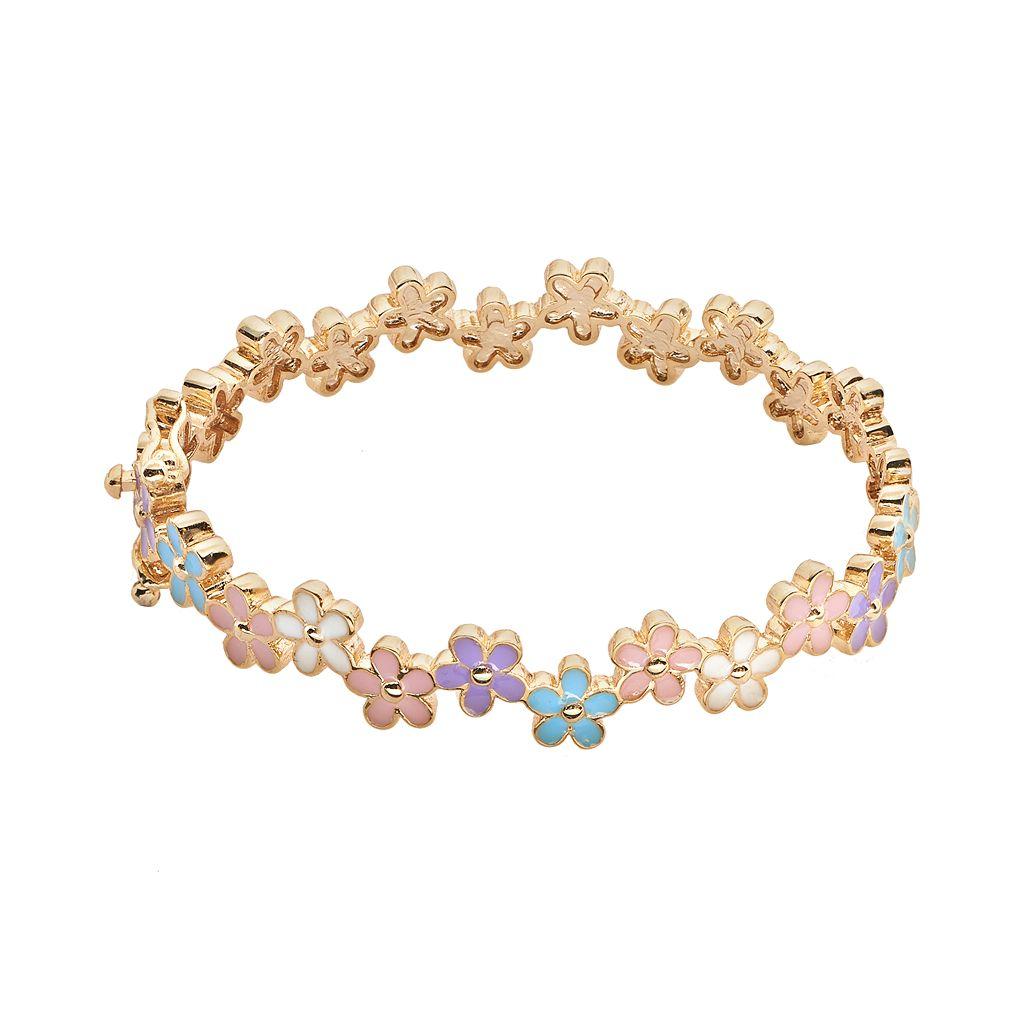 Junior Jewels Brass Flower Bangle Bracelet - Kids