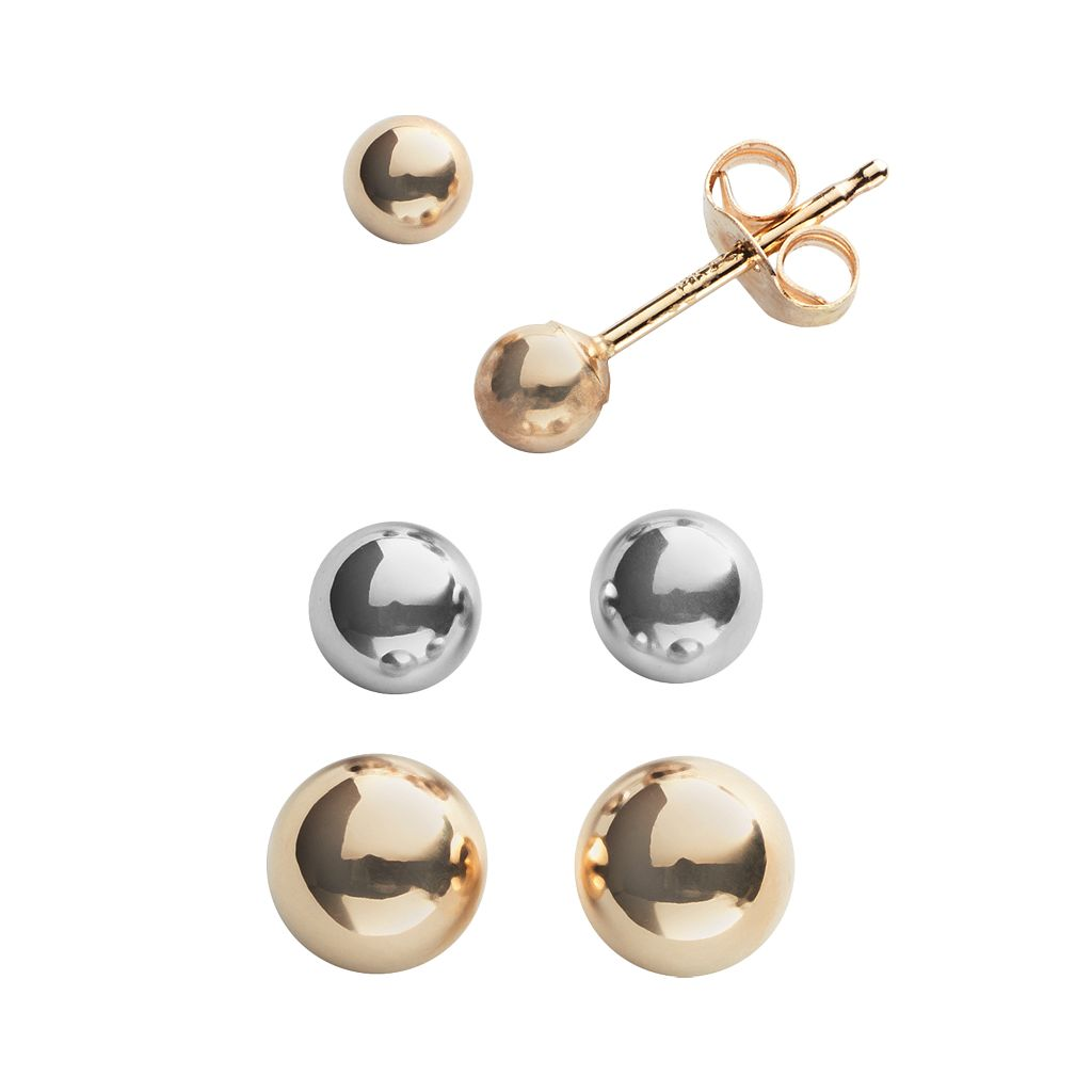 Everlasting Gold 14k Gold Two Tone Ball Stud Earring Set