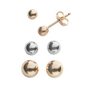 Everlasting Gold 14k Gold Two Tone Ball Stud Earring Set