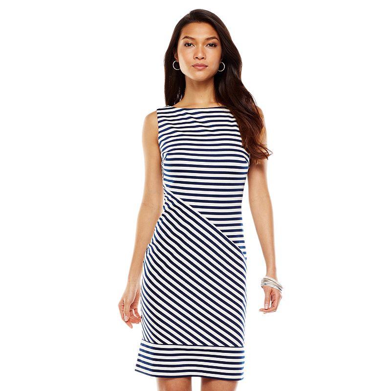 Chaps Striped Ponte Sheath Dress - Women's