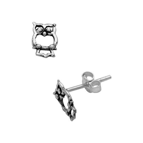 Itsy Bitsy Sterling Silver Owl Stud Earrings