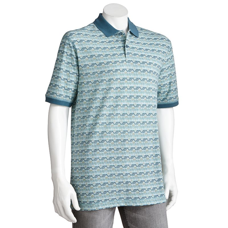 Haggar Patterned Pique Polo - Big and Tall