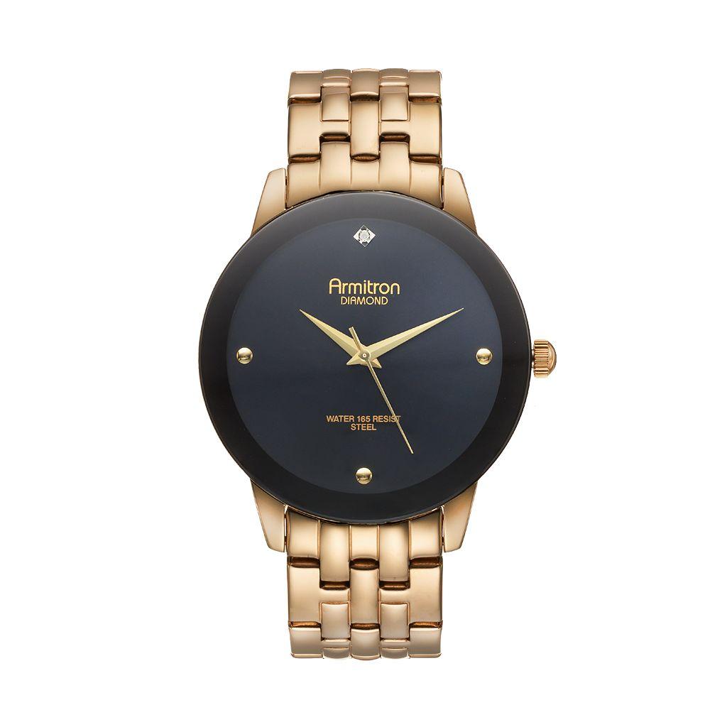 Armitron Men's Diamond Stainless Steel Watch - 20/4952BKGP