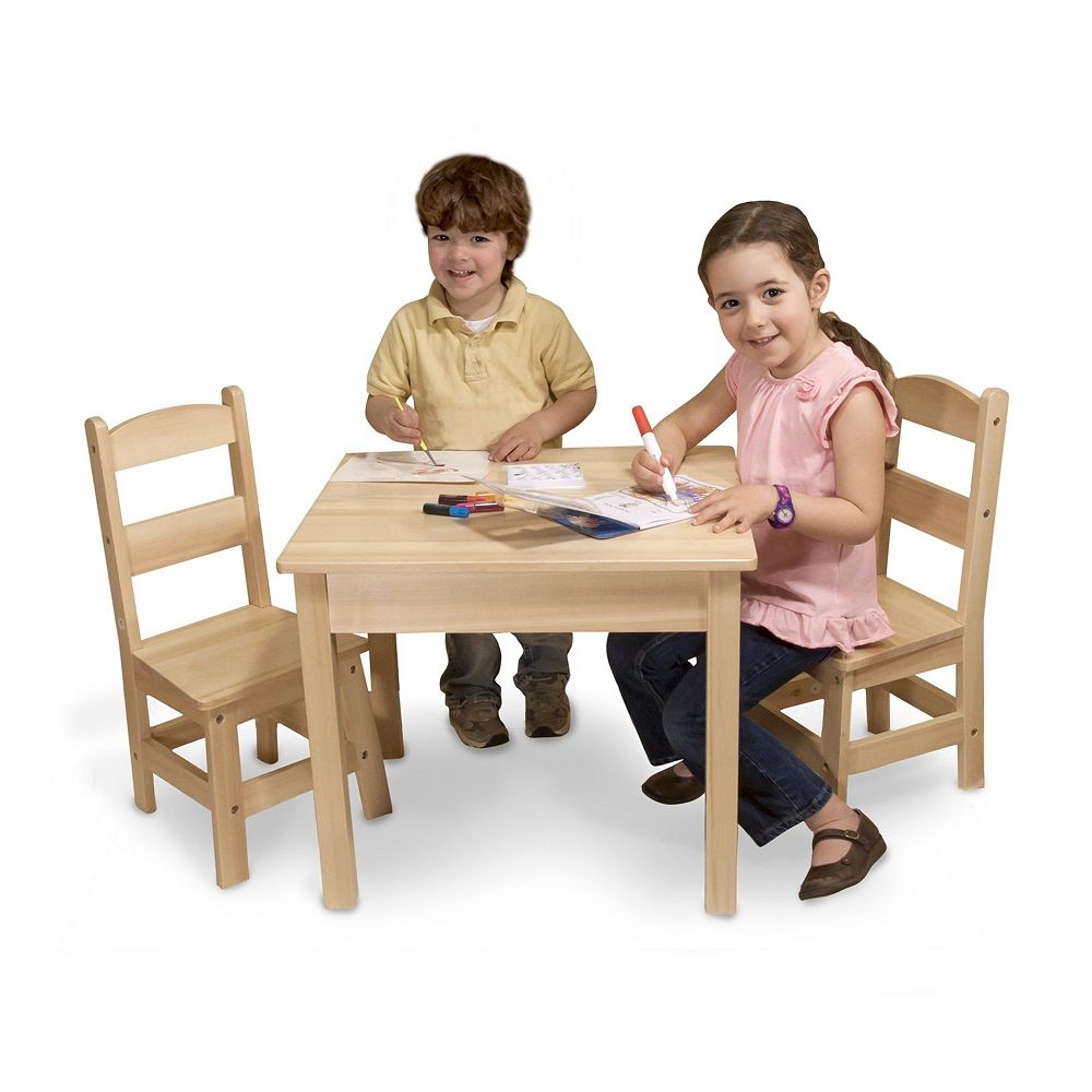 Toddler table and chair - Melissa Doug Wooden Table Chairs Set
