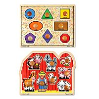 Melissa & Doug Shapes & Farm Large Jumbo Knob Bundle