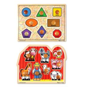 Melissa and Doug Shapes and Farm Large Jumbo Knob Bundle